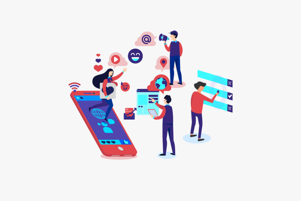 vector graphic of people working on social media